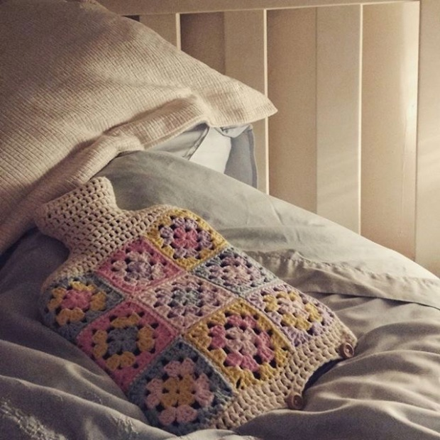 Pastel Crochet Hot Water Bottle Cover | MyCraftyMusings