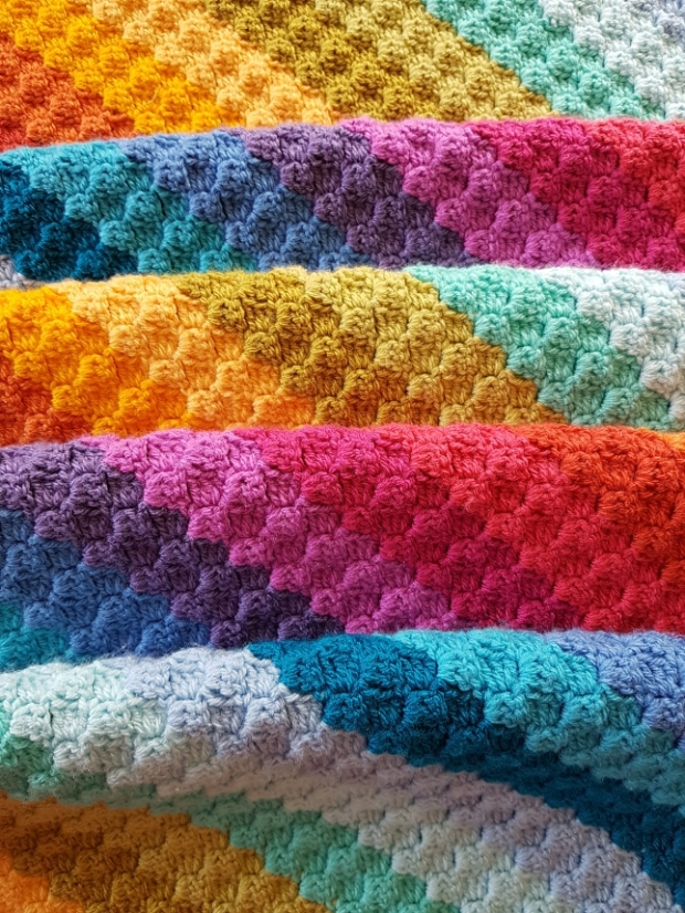 Rainbow Crochet Corner to Corner Blanket